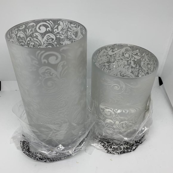Set of 2 Frosted Scroll Design Hurricanes